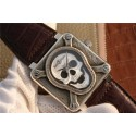 Bell-&-Ross BR01 Silver Case Burning Skull Tattoo Watch Silver Dial Leather Strap WJ00182