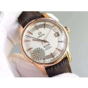 Imitation Omega V6F De Ville Hour Vision Co-Axial 41mm White Dial Brown Leather Strap WJ00452