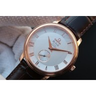 AAA Imitation Omega MKF De Ville 39mm Co-Axial White Dial Brown Leather Strap WJ01054