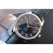 AAA Omega V6 De Ville Hour Vision Co-Axial 41mm Blue Dial Leather Strap WJ00496
