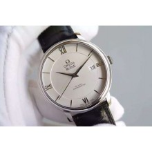 First-class Quality Omega MKF De Ville 39.5mm White Dial Black Leather Strap WJ00626