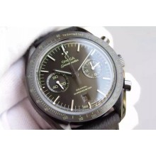 Knockoff AAAAA Omega Speedmaster Moonwatch Co-Axial Chronograph Pitch Black Leather WJ00282
