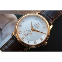 Luxury Omega MKF De Ville 39mm Co-Axial White Dial Brown Leather Omega WJ00277