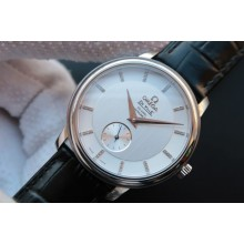 Omega MKF De Ville 39mm Co-Axial White Dial Diamonds Markers Leather Omega WJ00555