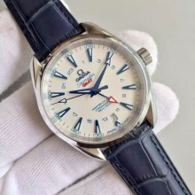 Omega Seamaster CO-AXIAL 150M GoodPlanet GMT White Dial Leather WJ00880