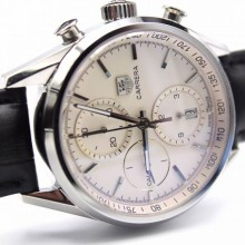 Tag-Heuer Carrera CAL1887 Chrono 40mm White Dial Leather Strap WJ00097