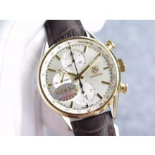 Tag-Heuer Carrera CAL1887 Chronograph V6 White Dial Markers Leather Strap WJ01258