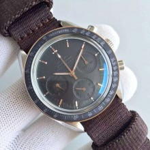 Top Copy Omega Speedmaster Moonwatch Apollo 11 45th anniversary Limited Brown Dial Nylon Strap Omega WJ01235