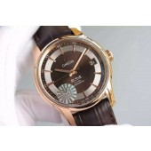 Replica Fashion Omega V6F De Ville Hour Vision Co-Axial 41mm Brown Dial Brown Leather Strap Omega WJ00508